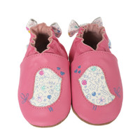 Pink leather baby shoes with soft soles. Birds and flowers are featured design elements. Fits babies, infants and toddlers, size 0 - 24 months.