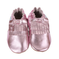 Pink metallic leather baby shoes with soft soles.  This baby moccasin is made of premium, soft leather. Ages 0 - 24 months.