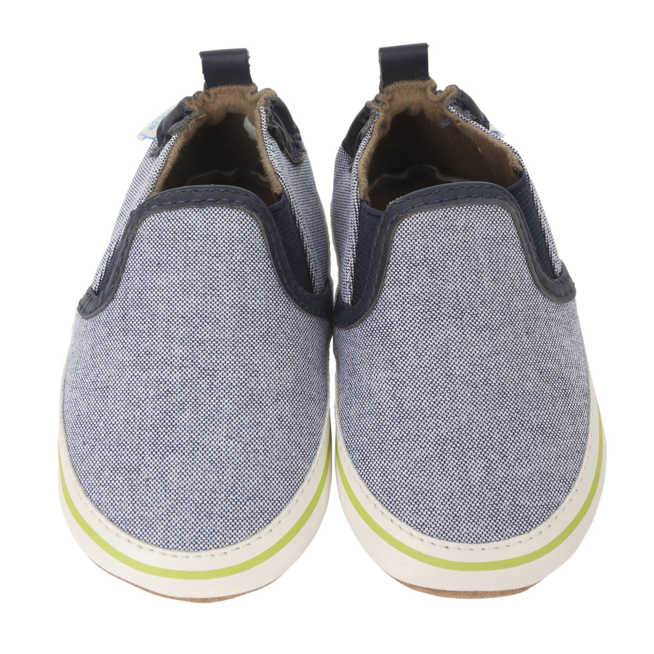 Navy canvas soft soled baby shoes with white PU trim.  Designed to look like Dad's casual sneakers.