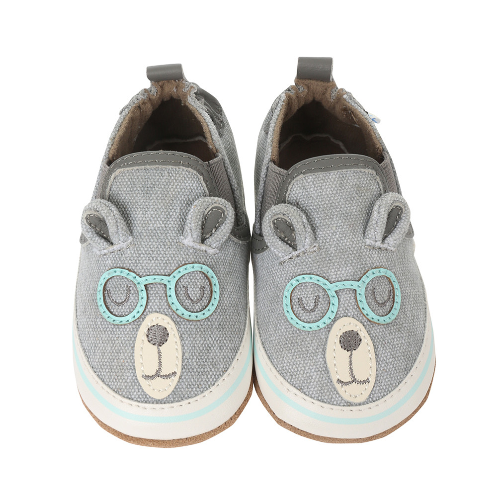 Brainy Bear Baby Shoes Grey Robeez