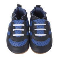 Leather infant shoes for 0 to 2 years.  Soft Soles. Athletic sneaker design