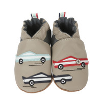 Grey leather baby shoes with soft soles and car designs