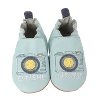 Blue leather baby shoes with soft soles and camera designs.