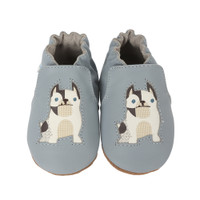 Infant shoes with soft soles in blue leather for 0 months to 24 months