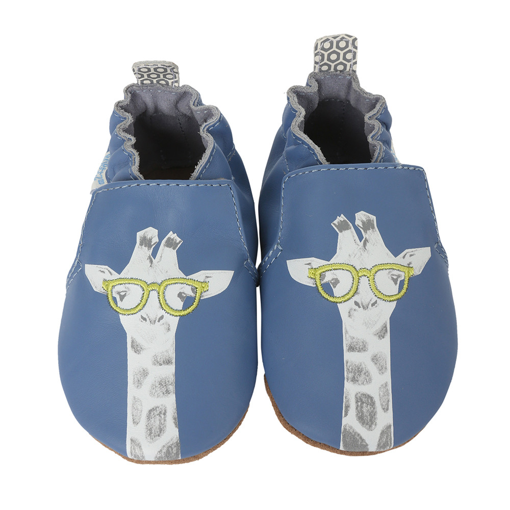 Blue leather baby shoes with soft soles and giraffe applique.