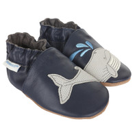 Navy leather baby shoes with soft soles and whale design