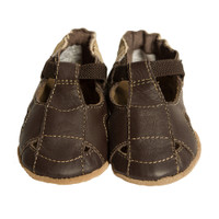 Baby Sandals for boys and girls in brown leather.  Soft Soled for pre-walkers and beginner walkers.
