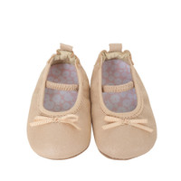 Taupe leather ballet shoes for baby girls.  Ages 0 - 24 months.