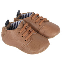 Taupe leather baby shoes.  These soft soles lace up.  For infants, babies and toddlers.