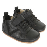 Black leather boy baby shoes with soft soles for infants, babies and toddlers.