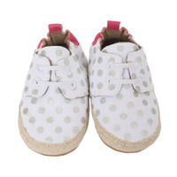 Infant shoes of white canvas with silver polka dot.  These soft soled baby shoes fit ages up to 24 months