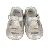 Silver leather infant shoes for girls.  These baby shoes have a rubber sole and hook and loop closure.