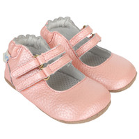 Baby shoes for girls in pink leather.  Soft soles with rubber outsole are good for early and beginner walkers.