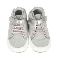 Grey canvas, with pink faux laces, baby shoes.  These infant shoes look like a high top sneaker but are for baby girls, ages 0 - 2 years.