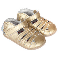 Baby sandals in gold leather for girls ages 0 - 2 years old.  These infant shoes have rubber soles and hook and loop (velcro) closure.