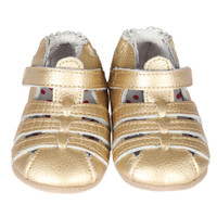 Gold leather baby sandals for girls ages 0 - 2 years old.  These infant shoes have rubber soles and hook and loop (velcro) closure.