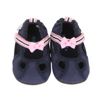Navy PU baby shoes with hook and loop closure and rubber outer soles.