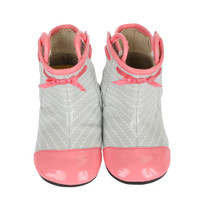 Grey and Pink PU baby boots for girls.  Sizes 2, 3, 4, 5, and 6 for ages 0 - 24 months.