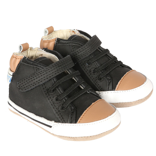 Black leather high-top baby shoe inspired by high-top sneakers.  This infant shoe is for babies, infants and toddlers ages 0 - 2 years old.