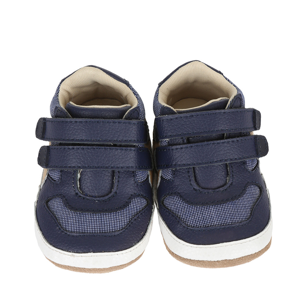 Navy leather and canvas baby shoe for infants, babies and toddlers ages 0 - 24 months in sizes 2,3,4, 5 and 6.
