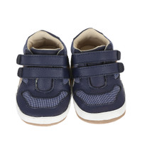 Navy leather and canvas baby shoe for infants, babies and toddlers ages 0 - 24 months in sizes 2,3,4, 5 and 6.  Designed to look like dad's athletic shoe.