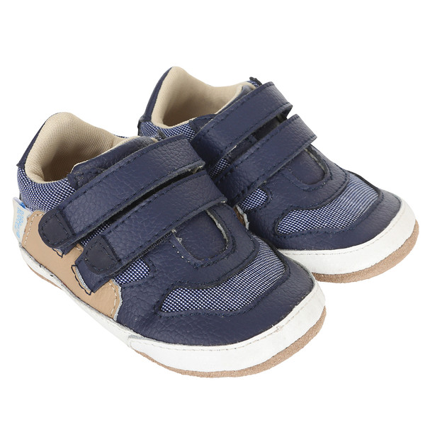 Navy leather and canvas baby shoe for infants, babies and toddlers ages 0 - 24 months in sizes 2,3,4, 5 and 6.  Designed to look like dad's athletic shoe