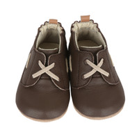 Brown leather infant shoe with rubber out sole.  Good for pre-walkers and early walking.  Ages 0 - 24 months. Sizes 2, 3, 4, 5, and 6.