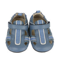 Blue leather baby sandals for pre-walkers and walkers ages 0 - 24 months.