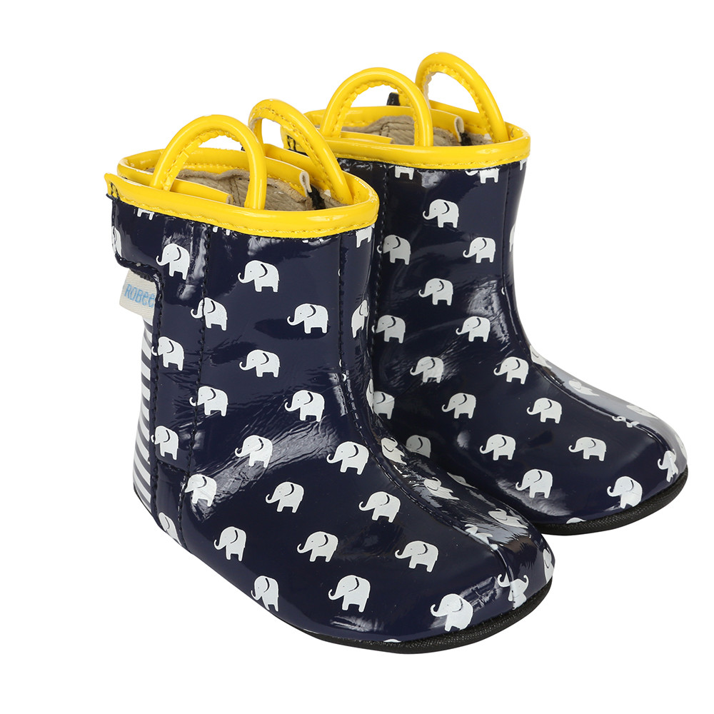 Baby boots in navy pu with white elephants.  PU sole with rubber out sole.