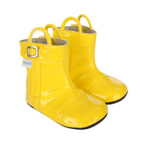 Yellow PU boots for babies, infants and toddlers, ages 0 - 24 months, sizes 2, 3, 4, 5, and 6.