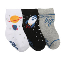 Baby socks for boys, ages 0 - 24 months, featuring planets and rockets.