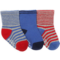 Striped baby socks in cotton.  Boys or Girls.  Blue, grey and red.