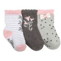 Grey and white cotton socks for baby girls, ages 0 - 24 months.  Featuring flowers, dots and bows.