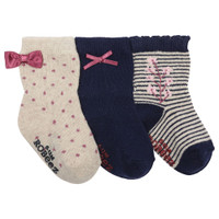 Girls socks in cotton for babies, infants and toddlers. Navy, Navy and white striped and cream with pink dots.