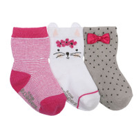Girls baby socks in pink, white and grey.  Featuring strips, dots, bows and a cat face.  Ages 0 -24 months.