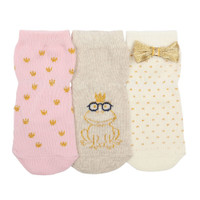 Girls' socks featuring gold hearts, dots and a frog wearing a crown.   For babies, infants and toddlers.