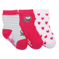 Pink and white cotton baby socks for girls featuring birds, hearts and stripes.