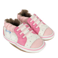 Girl's shoes for babies, infants and toddlers.  Looks like mom's athletic shoe.