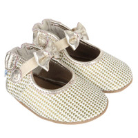 Leather baby shoes for baby, infant and toddler girls.  Screen printed with gold triangle print