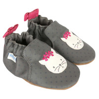 Girl's baby shoes in grey leather featuring cats