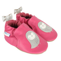 Pink leather baby shoes for girls ages 0 - 24 months featuring birds and bows.