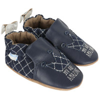 Navy leather and quilted fabric baby shoes for girls with silver embroidery