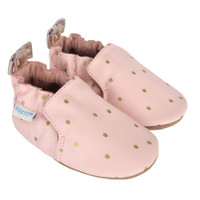 Pink leather baby shoes for girls printed with gold crowns.