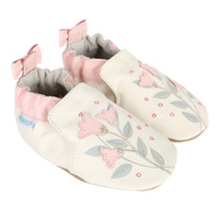 Cream leather baby shoes for girls ages 0 - 24 months.  Decorated with pink and grey flowers.
