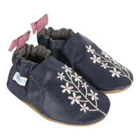 Baby shoes for girls in navy leather and embroidered with pink flowers.   Ages 0 - 24 months