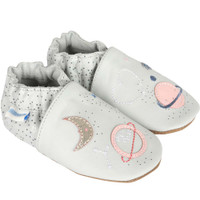 Grey leather girl's shoes for babies, infants and toddlers. These shoes are decorated with planets and stars.