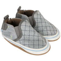 Boys baby shoes in grey canvas.  Soft Soles.