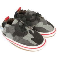 Boys baby shoes in grey camouflage.  Soft soles for babies, infants and toddlers.