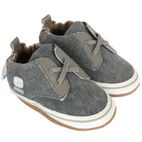 Baby, Infant and Toddler Soft Soled Baby Shoes in grey canvas with faux laces