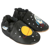 Baby, infant and toddler shoes featuring stars and rockets.  Soft Soles for boys and girls.